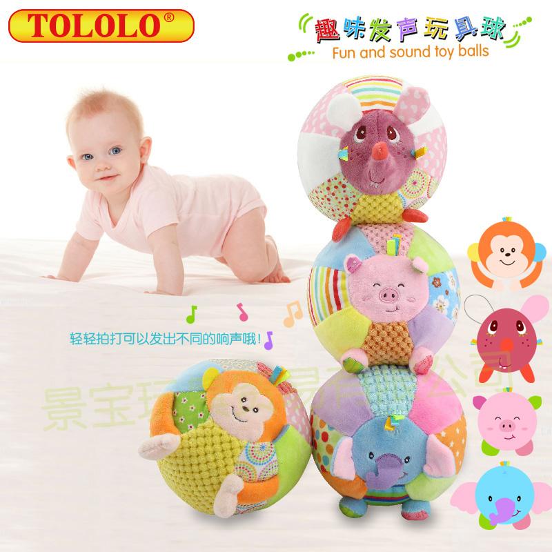 tololo卡通动物亲子游戏多功能趣味发声婴幼儿 毛绒玩具球